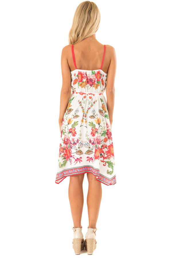 Ivory Floral Spaghetti Strap Short Dress with Waist Tie back full body