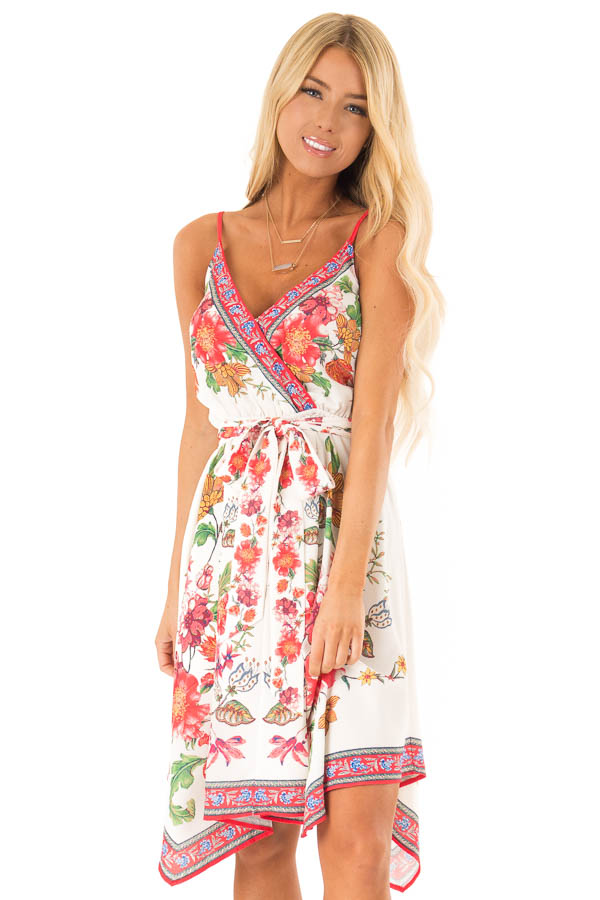 Ivory Floral Spaghetti Strap Short Dress with Waist Tie front close up