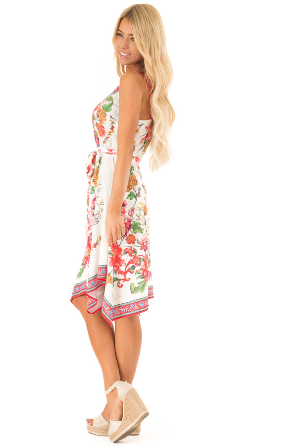 Ivory Floral Spaghetti Strap Short Dress with Waist Tie side full body