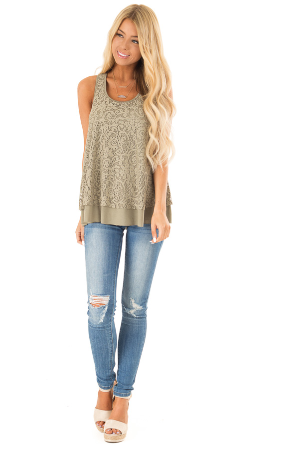 Dusty Olive Racerback Tank Top with Lace Overlay front full body