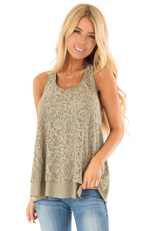 Dusty Olive Racerback Tank Top with Lace Overlay front close up