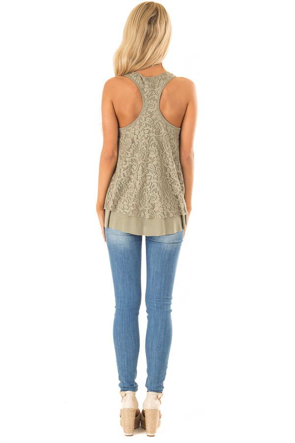 Dusty Olive Racerback Tank Top with Lace Overlay back full body