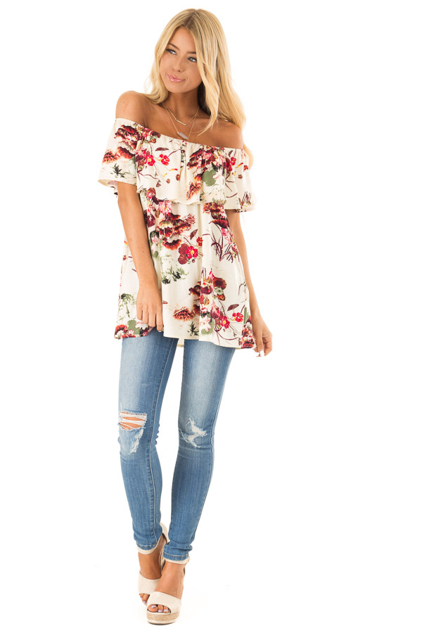 Cream Floral Print Off the Shoulder Top with Button Detail front full body