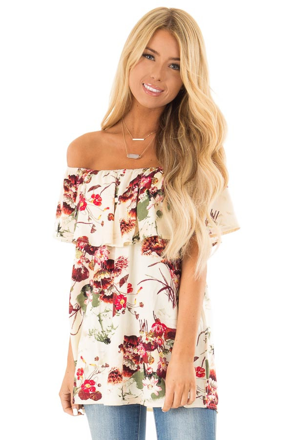 Cream Floral Print Off the Shoulder Top with Button Detail front close up