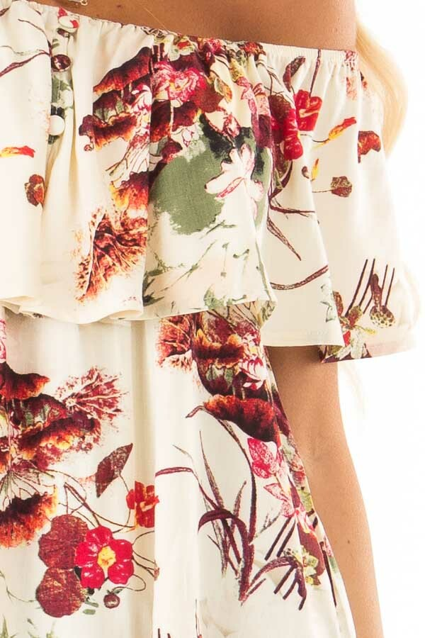 Cream Floral Print Off the Shoulder Top with Button Detail detail