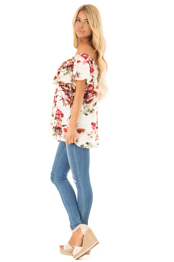 Cream Floral Print Off the Shoulder Top with Button Detail side full body