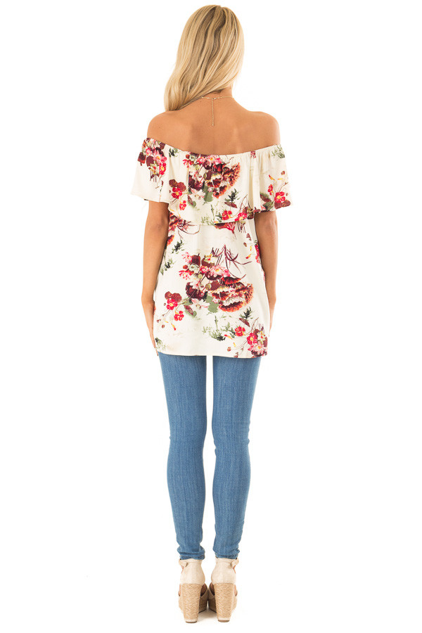 Cream Floral Print Off the Shoulder Top with Button Detail back full body