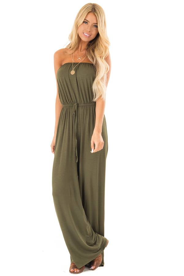 Olive Strapless Jumpsuit with Elastic Waist front close up