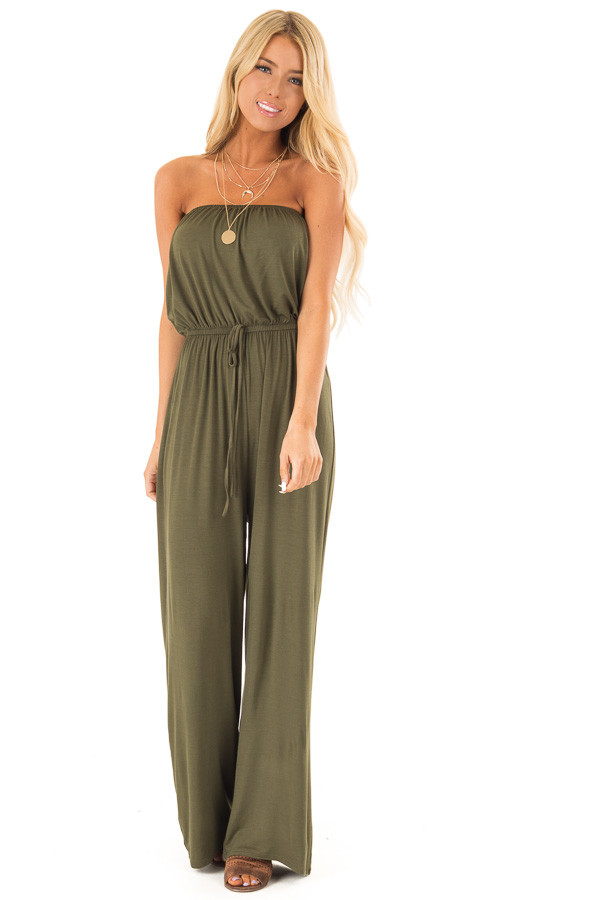 Olive Strapless Jumpsuit with Elastic Waist front full body