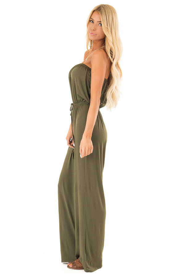 Olive Strapless Jumpsuit with Elastic Waist side full body