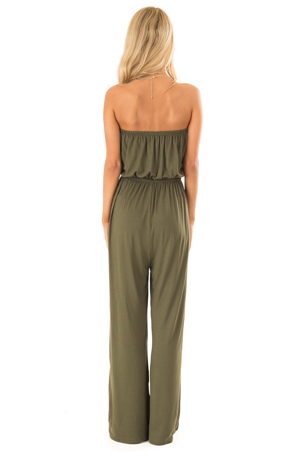Olive Strapless Jumpsuit with Elastic Waist back full body