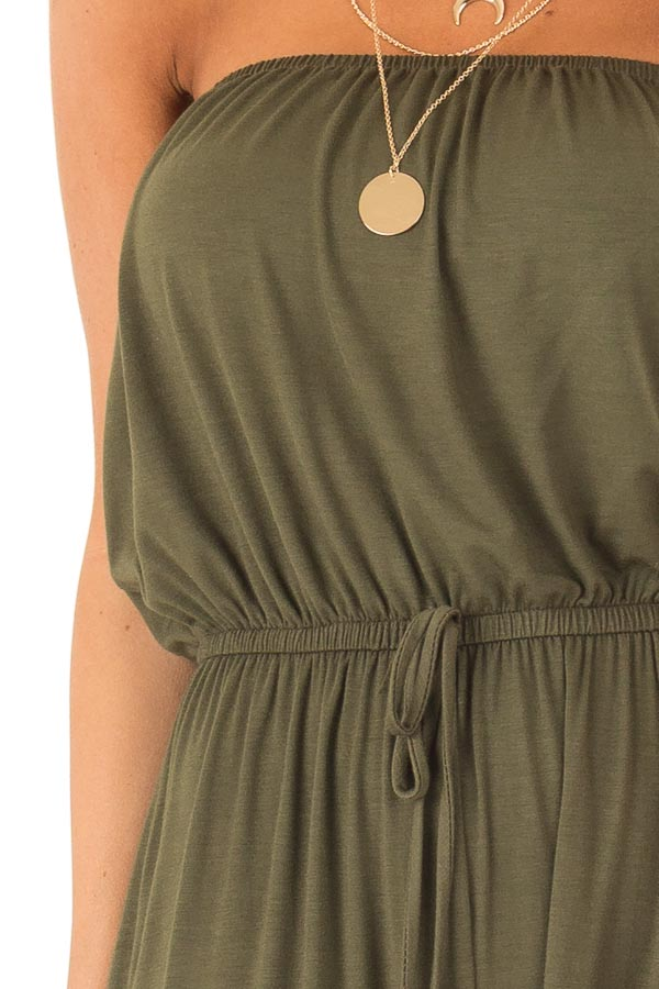Olive Strapless Jumpsuit with Elastic Waist detail