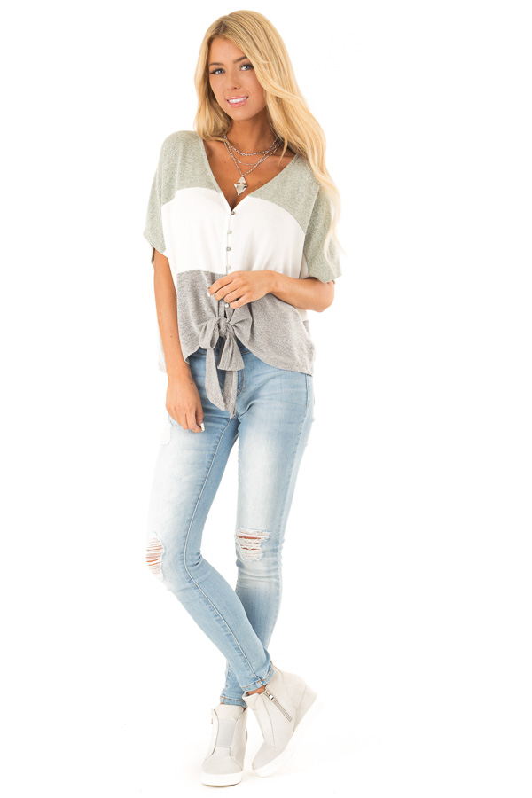 Heather Grey Button Up Color Block V Neck Top with Front Tie front full body