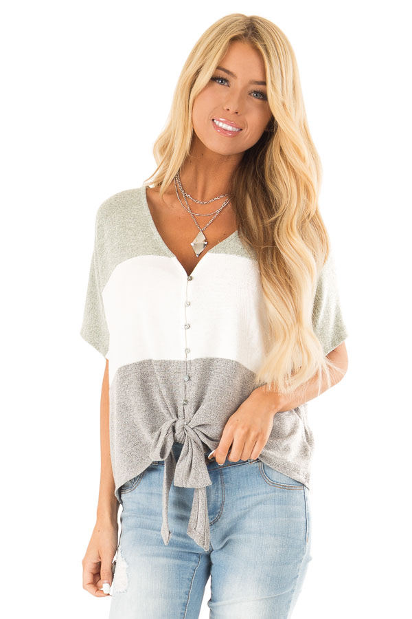 Heather Grey Button Up Color Block V Neck Top with Front Tie front close up