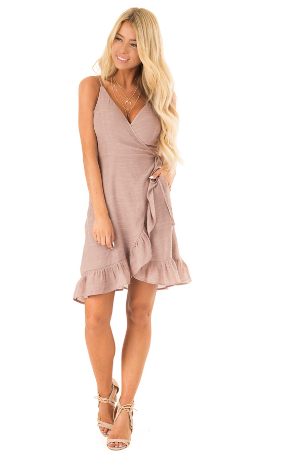 Rose Smoke Mini Wrap Dress with Ruffle Trim Detail front full body