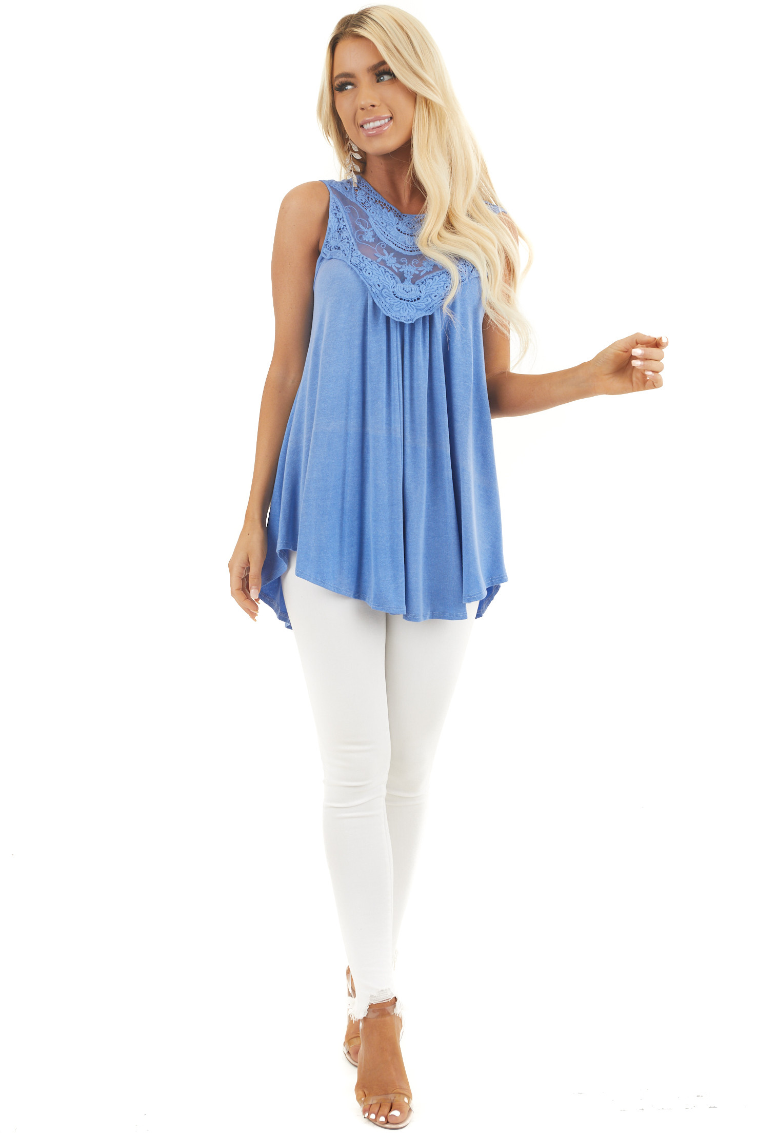 Vintage Blue Flowy Sleeveless Top with Sheer Crochet Details