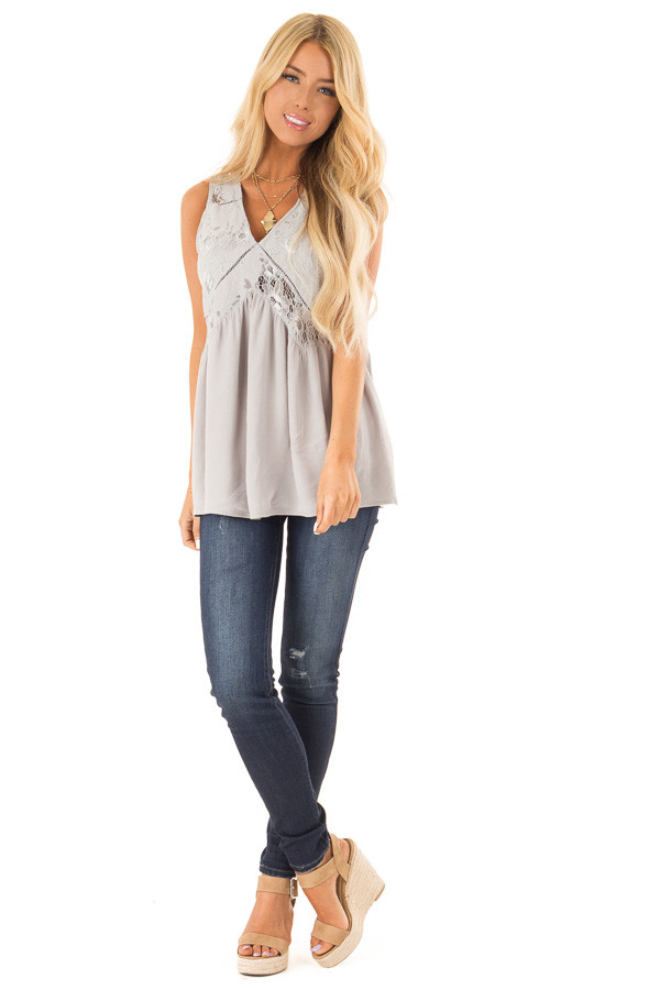 Silver Grey Sheer Lace Top with Ladder Lace Detail front full body