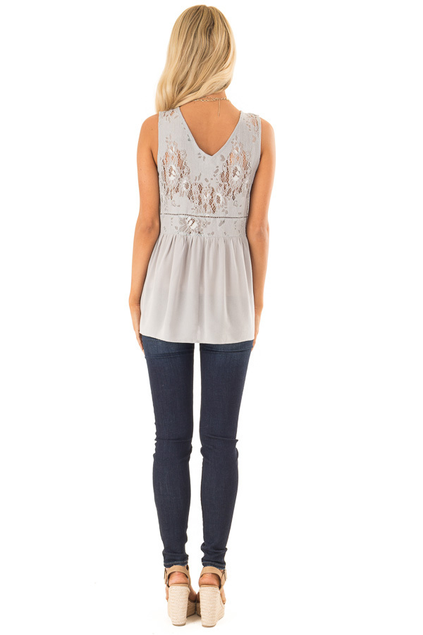 Silver Grey Sheer Lace Top with Ladder Lace Detail back full body