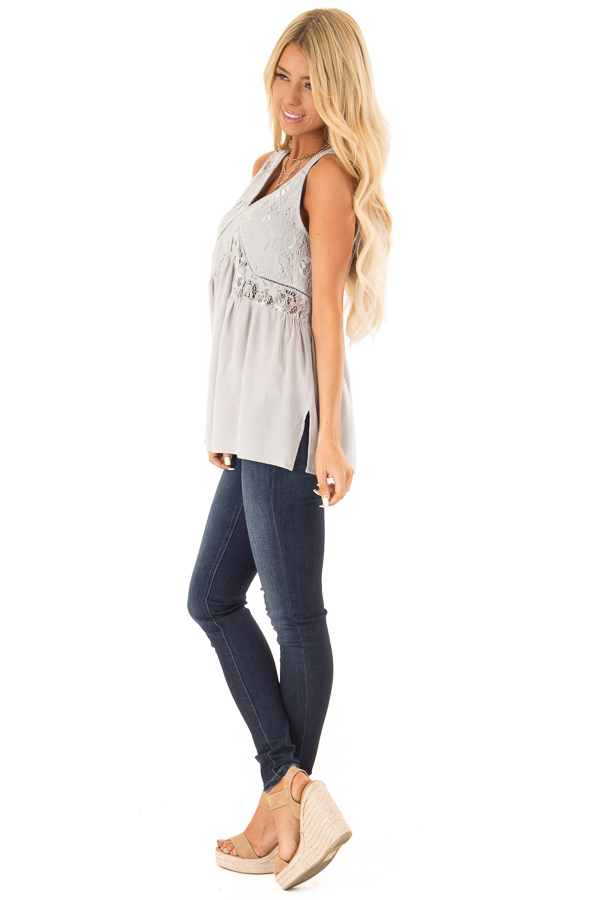 Silver Grey Sheer Lace Top with Ladder Lace Detail side full body