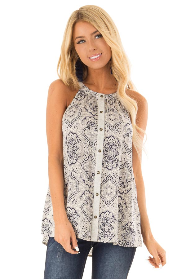 Navy and Oatmeal Damask Print Button Up Halter Tank Top front close up