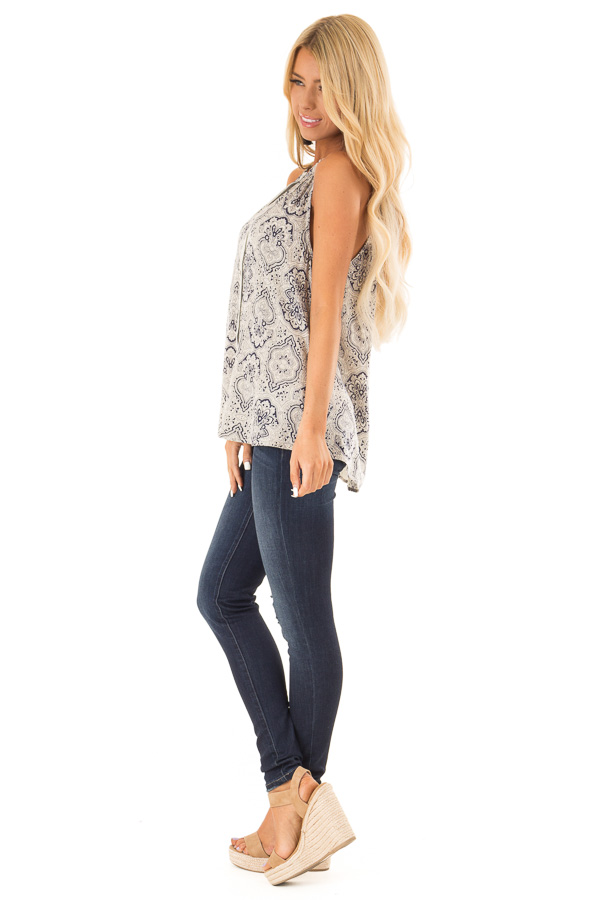 Navy and Oatmeal Damask Print Button Up Halter Tank Top side full body