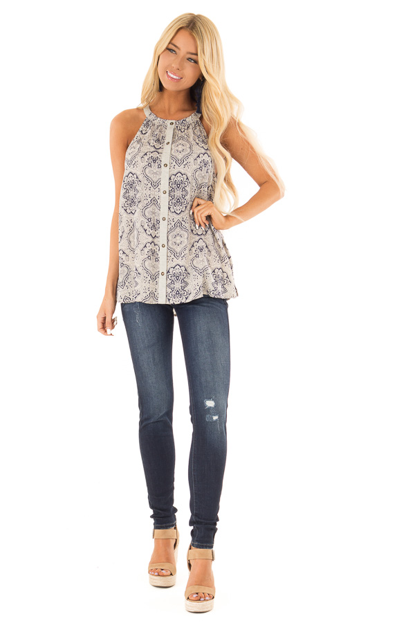 Navy and Oatmeal Damask Print Button Up Halter Tank Top front full body