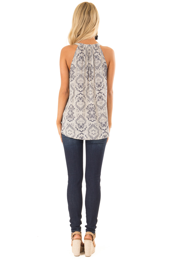 Navy and Oatmeal Damask Print Button Up Halter Tank Top back full body