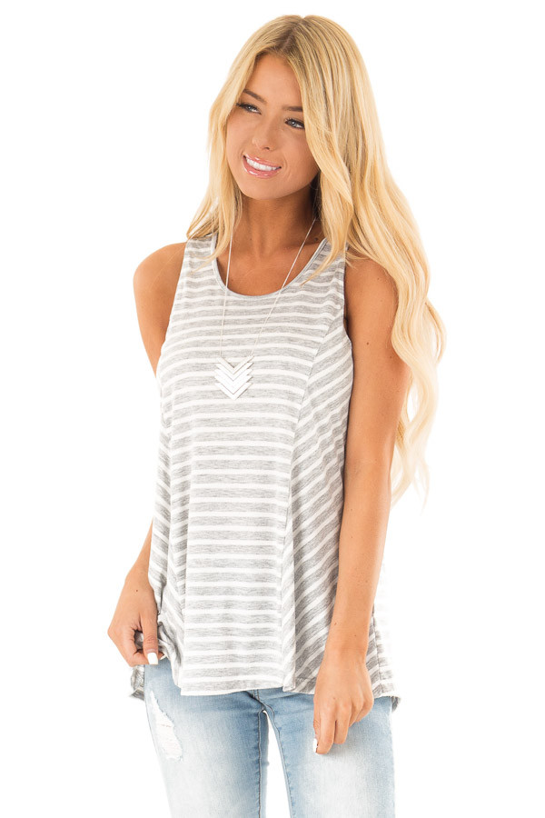Heather Grey Striped Sleeveless Top with Lace Up Back Detail front close up