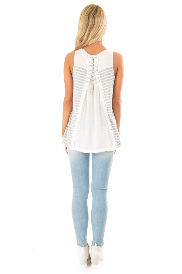 Heather Grey Striped Sleeveless Top with Lace Up Back Detail back full body