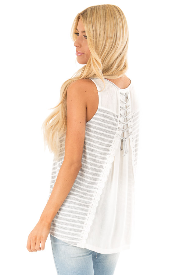 Heather Grey Striped Sleeveless Top with Lace Up Back Detail side close up