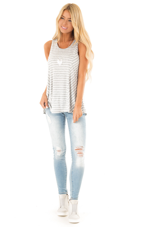 Heather Grey Striped Sleeveless Top with Lace Up Back Detail front full body