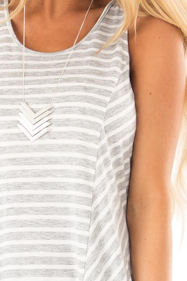 Heather Grey Striped Sleeveless Top with Lace Up Back Detail detail