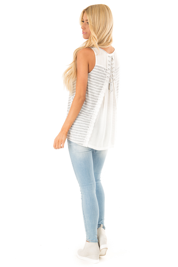 Heather Grey Striped Sleeveless Top with Lace Up Back Detail side full body