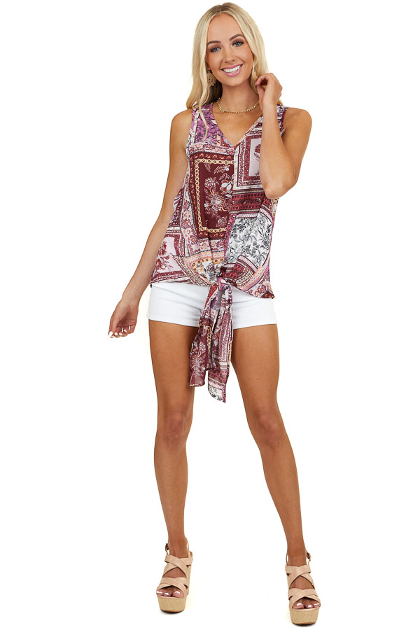 Plum Floral Multi Print Sleeveless V Neck Top with Tie