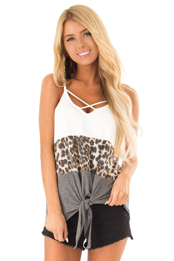 Charcoal and Ivory Color Block Leopard Tank with Front Tie front close up