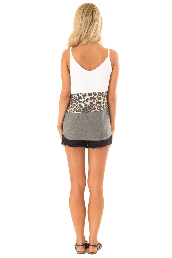 Charcoal and Ivory Color Block Leopard Tank with Front Tie back full body