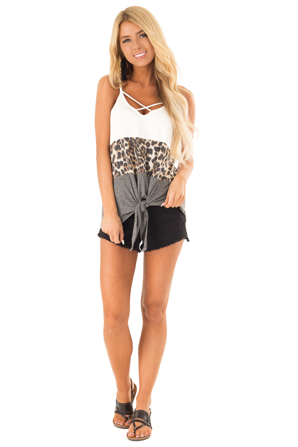 Charcoal and Ivory Color Block Leopard Tank with Front Tie front full body