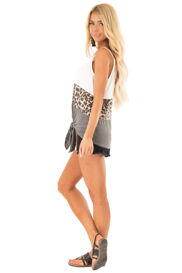 Charcoal and Ivory Color Block Leopard Tank with Front Tie side full body