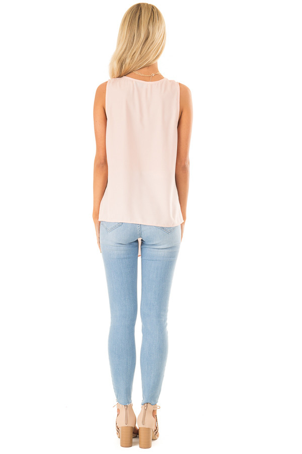 Baby Pink Sleeveless Surplice Top with Flowy Overlay back full body