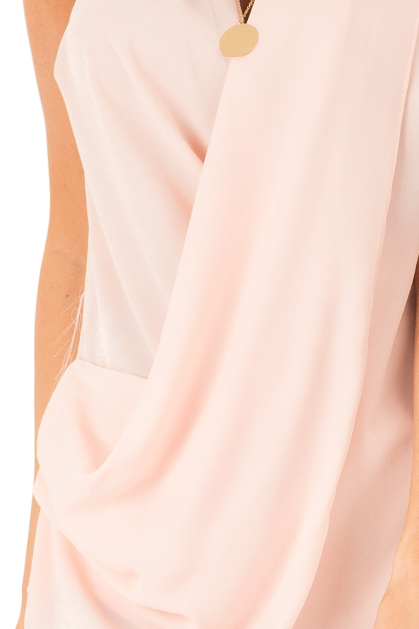 Baby Pink Sleeveless Surplice Top with Flowy Overlay detail