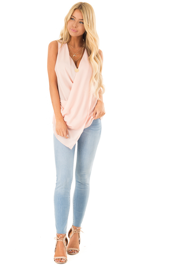 Baby Pink Sleeveless Surplice Top with Flowy Overlay front full body