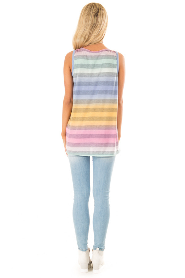 Multicolor Striped Tank Top with Twisted Hemline back full body