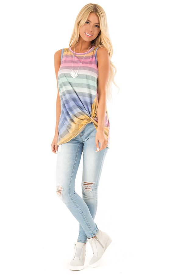 Multicolor Striped Tank Top with Twisted Hemline front full body