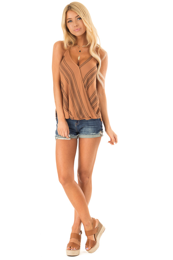 Caramel and Mocha Striped Surplice Halter Top front full body