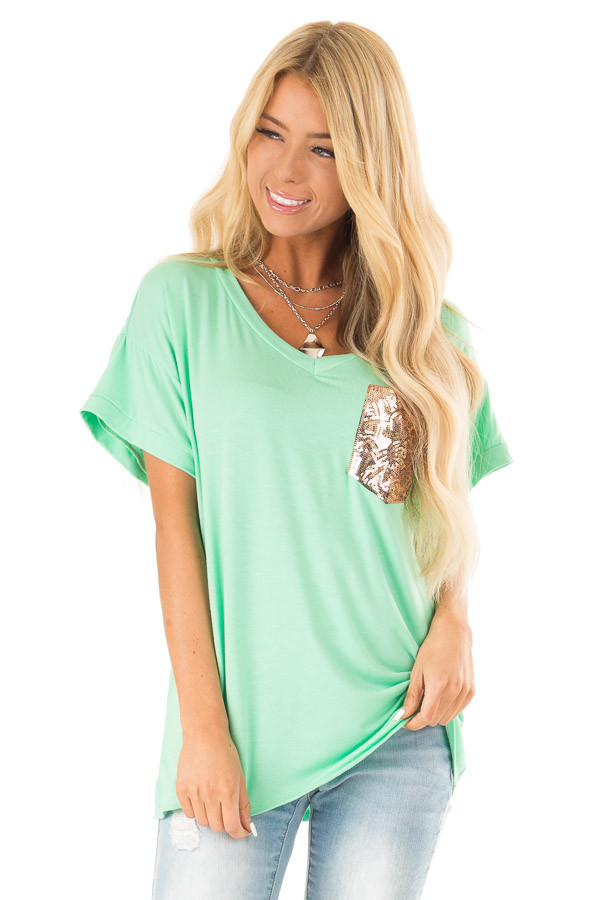 Light Jade Short Sleeve Top with Sequin Pocket Detail front close up