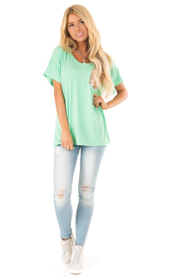 Light Jade Short Sleeve Top with Sequin Pocket Detail front full body