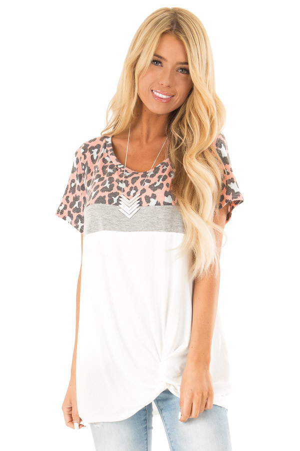 Taffy Pink Leopard Print Color Block Top with Front Twist front close up
