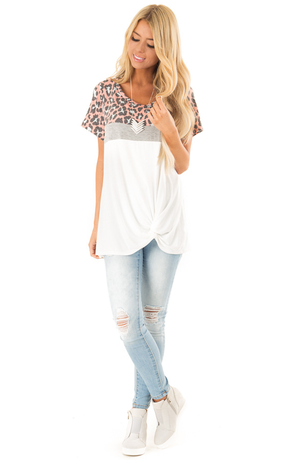 Taffy Pink Leopard Print Color Block Top with Front Twist front full body