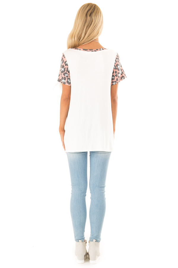 Taffy Pink Leopard Print Color Block Top with Front Twist back full body