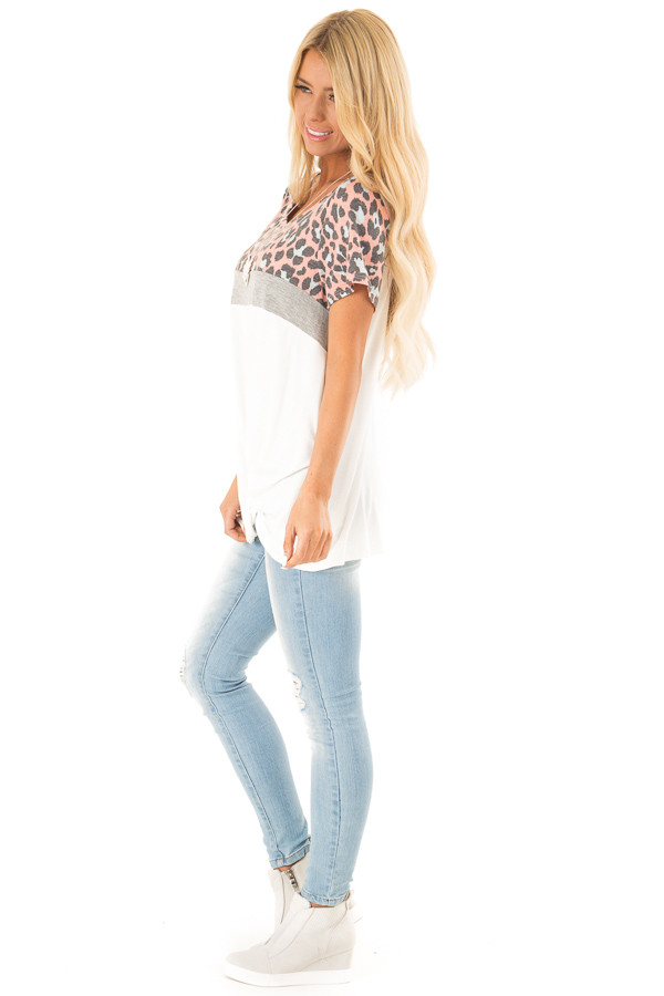 Taffy Pink Leopard Print Color Block Top with Front Twist side full body